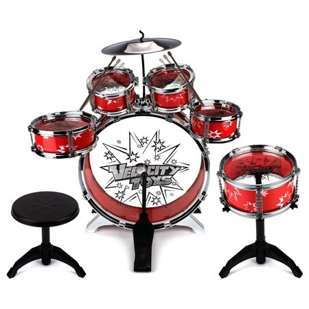 11 Piece Children's Kid's Musical Instrument Drum Play Set w/ 6 Drums, Cymbal, Chair, Kick Pedal, Drumsticks (Red) ()