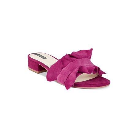 Alfani Womens Monah Leather Open Toe Casual Slide Sandals