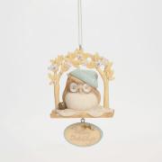 Karen Hahn Foundations 4041251 Owl on Perch Ornament NEW 2014