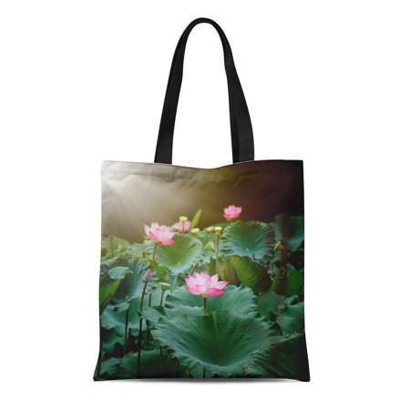 HATIART Canvas Tote Bag Green Beautiful Lotus Flower and Plants Pink Beauty Bloom Reusable Shoulder Grocery Shopping Bags Handbag - image 1 of 1
