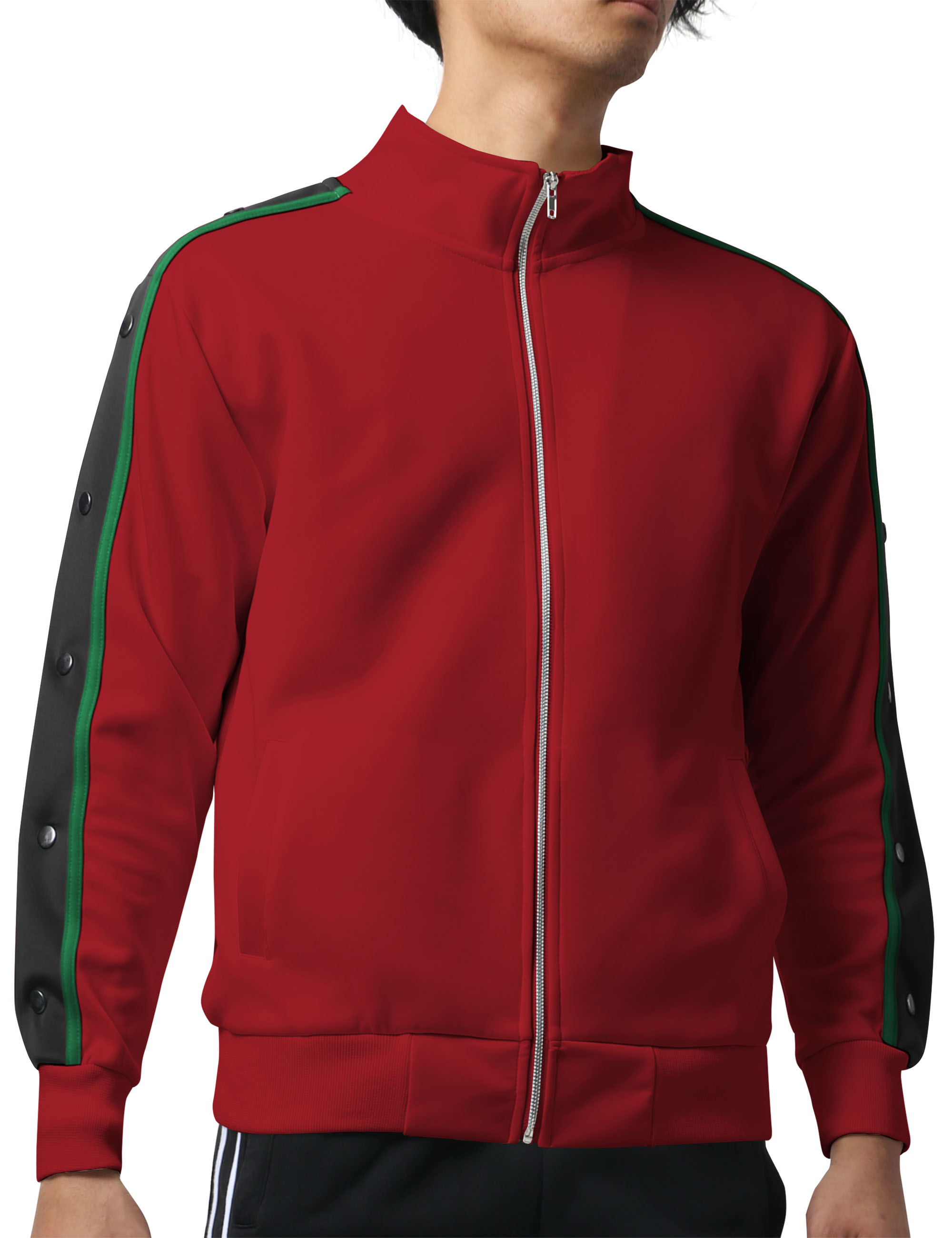 Men's Active Slim Fit Track Jacket with Button Sleeve Accents