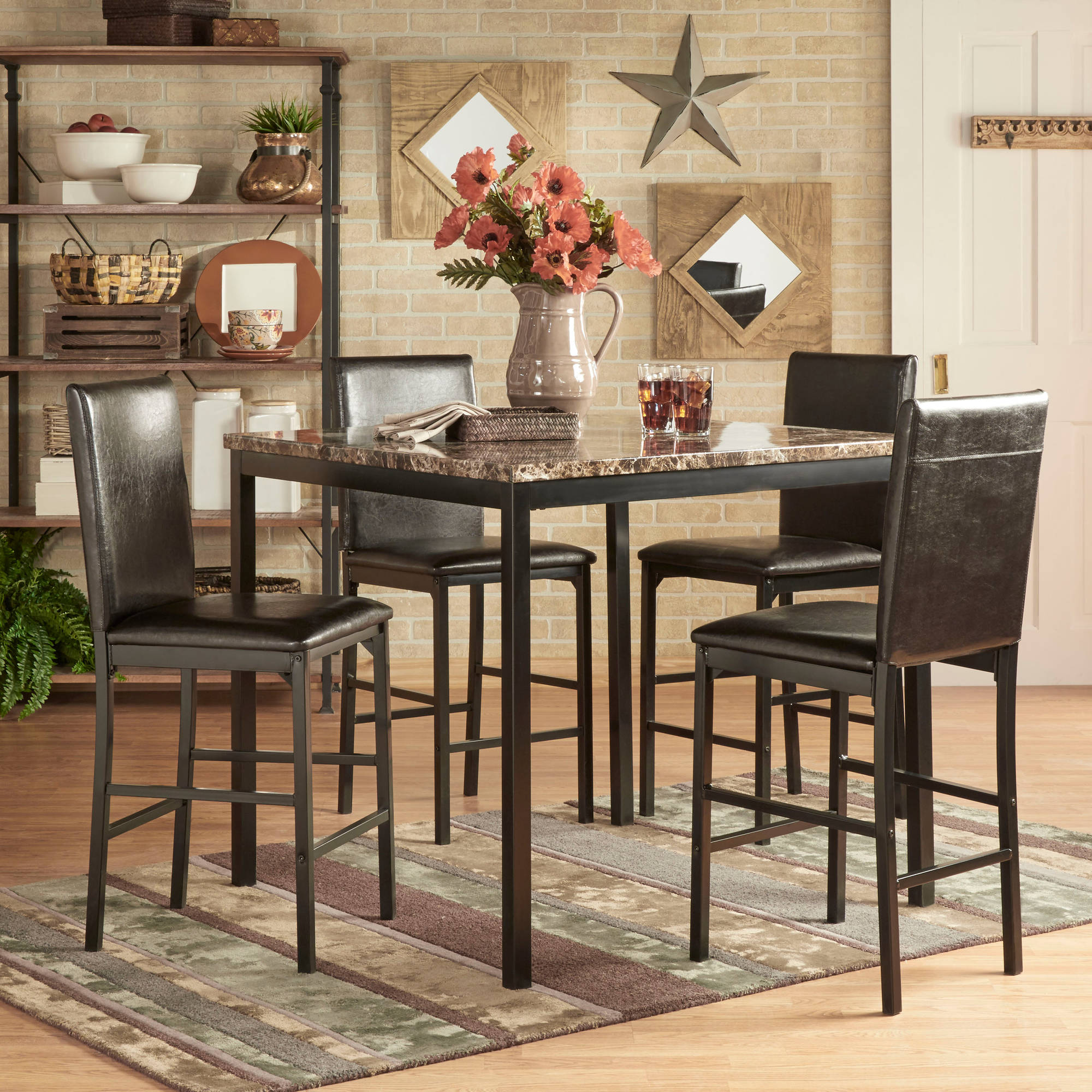 Chelsea Lane Declan 5 Piece Metal Counter Height Dining Set