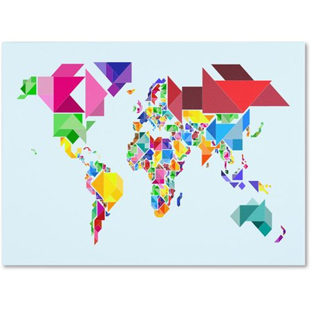 Trademark art tangram worldmap canvas art by michael tompsett this button opens a dialog that displays additional images for this product with the option to zoom in or out gumiabroncs Choice Image