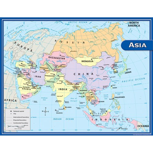 Teacher Created Resources Asia Map Chart 17x22