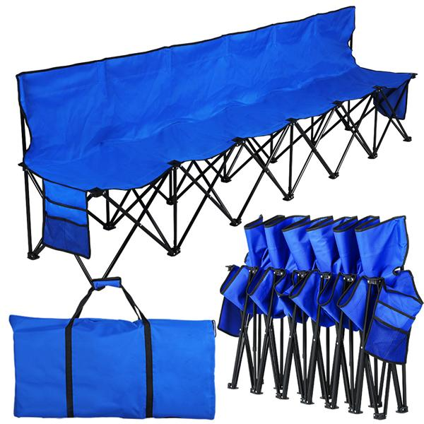 Yaheetech Lightweight Folding Team Sport Bench 6 Seater Sideline Seats with a Carry Bag -- Bigger than others