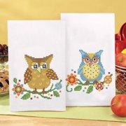 Herrschners Bright Owls Towel Pair Stamped Cross Stitch