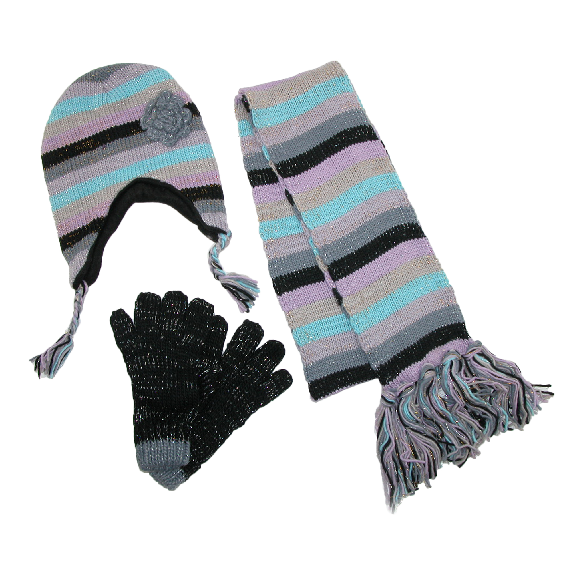 Womens Striped with Rosette Hat Gloves and Scarf Winter Set, Blue