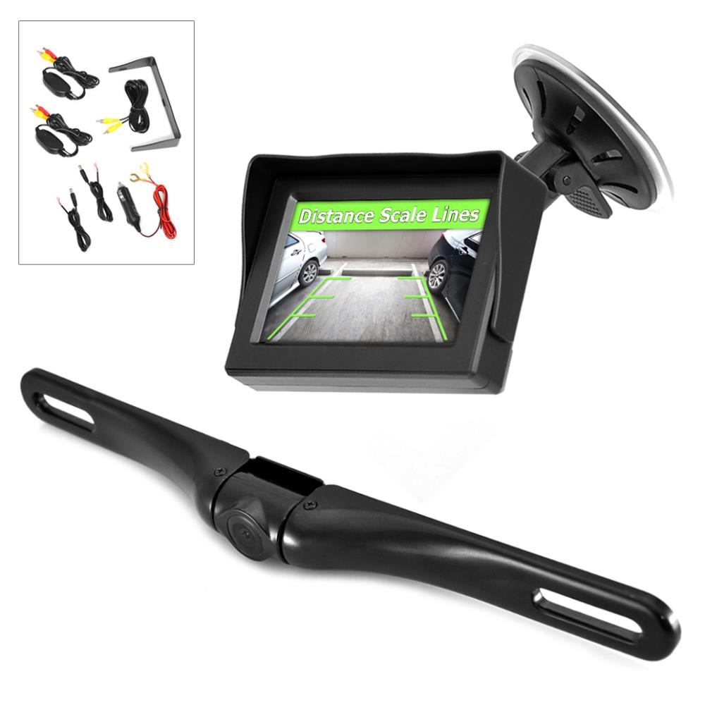 """PYLE PLCM4350WIR - Wireless Backup Car Camera Rearview Monitor System - Parking & Reverse Safety Distance Scale Lines, Waterproof & Fog Resistant Cam, 4.3"""" LCD Screen Video Color Display for Vehicles"""