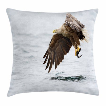 Eagle Throw Pillow Cushion Cover, Bird with Feathers on Head and Tail Catching a Fish Hunting Animal Food Chain, Decorative Square Accent Pillow Case, 16 X 16 Inches, Pearl Brown Yellow, by Ambesonne