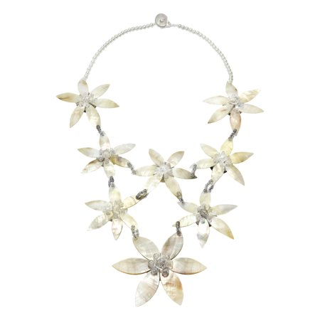 Elegantly Linked Cascading Lily Flowers White Shell and Bead Statement Necklace