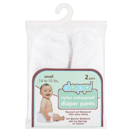 American Baby Company Dappi Waterproof 100% Nylon Diaper Pants, 2 Pack, White, Small - Nylon Diaper Pants