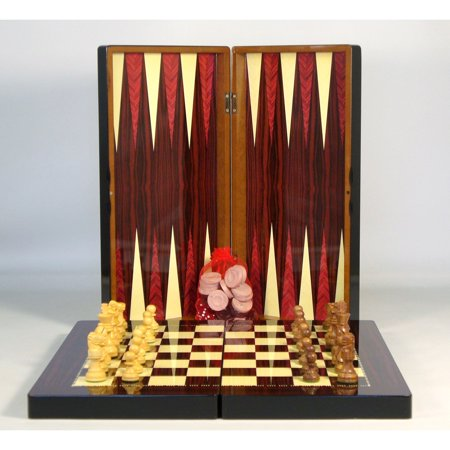 WorldWise Imports Wood Grain Decoupage Backgammon and Chess Set Ac Milan Game