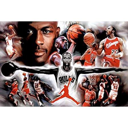 Michael Jordan - Collage Open Arms 36x24 36x24 Sports Art Print Poster Superstar Legend - Sports Poster