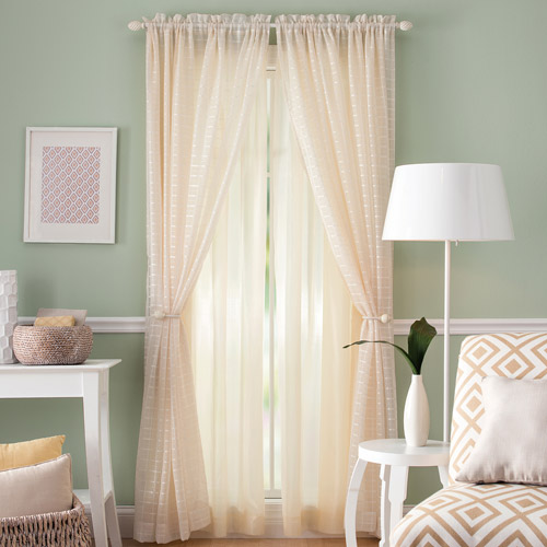 Better Homes and Gardens Lined Sheer Curtain Panel