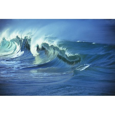 Rough Seas Large Curling Waves And Cloudy Sky PosterPrint
