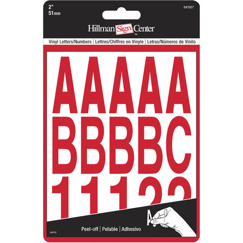 "The Hillman Group 2"" Die-Cut Letters/Numbers Kit, Red"