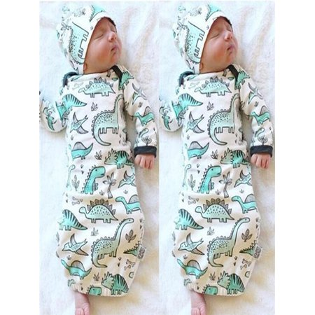 2Pcs Newborn Infant Baby Girls Boy Cartoon Dinosaur Pajamas Gown Swaddle - Swaddle Outfit