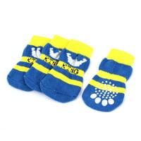 Unique Bargains 2 Pairs Winter Warm Nonslip Acrylic Pet Dog Doggy Socks Blue White Yellow
