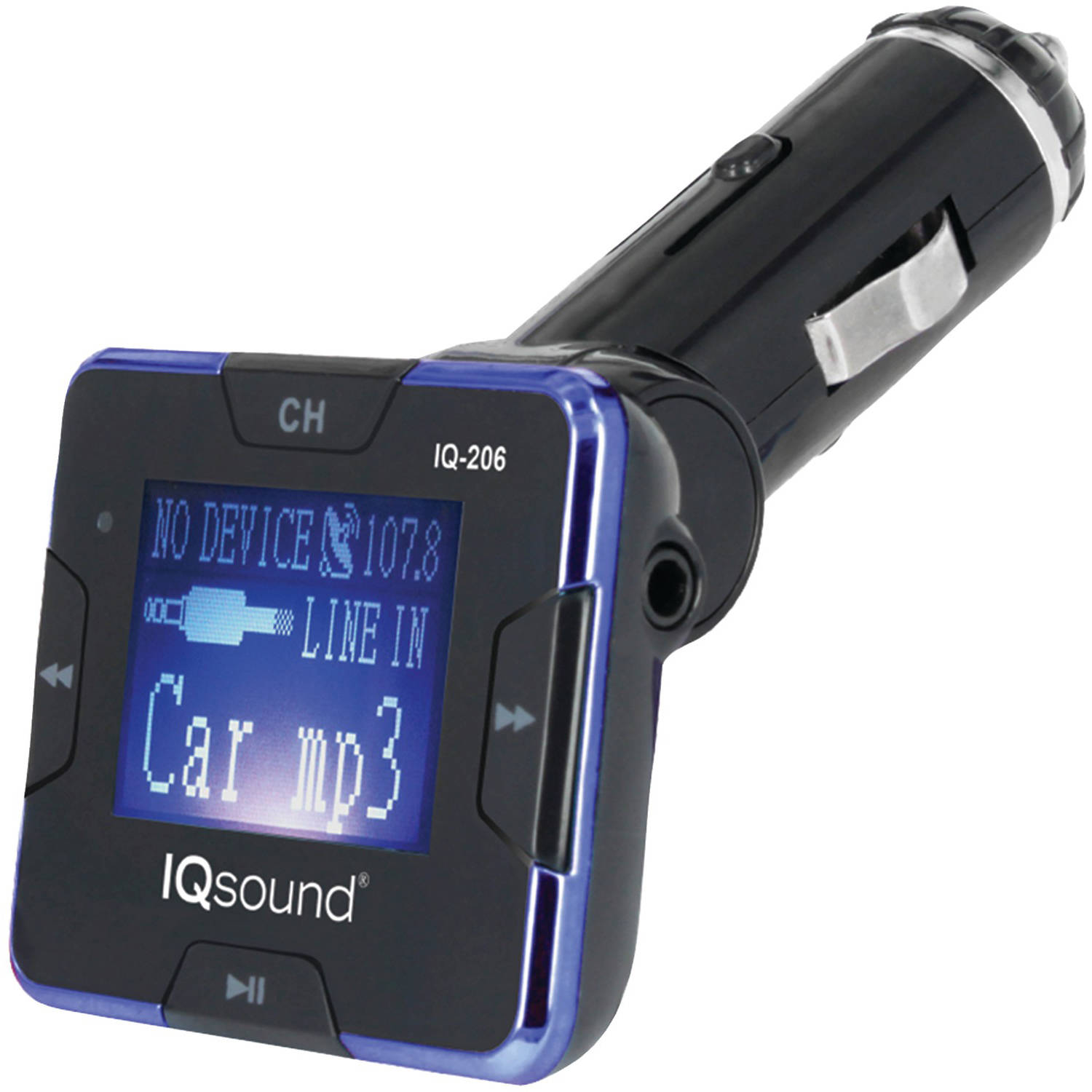 "SuperSonic IQ-206 Wireless FM Transmitter with 1.4"" Display, Blue"