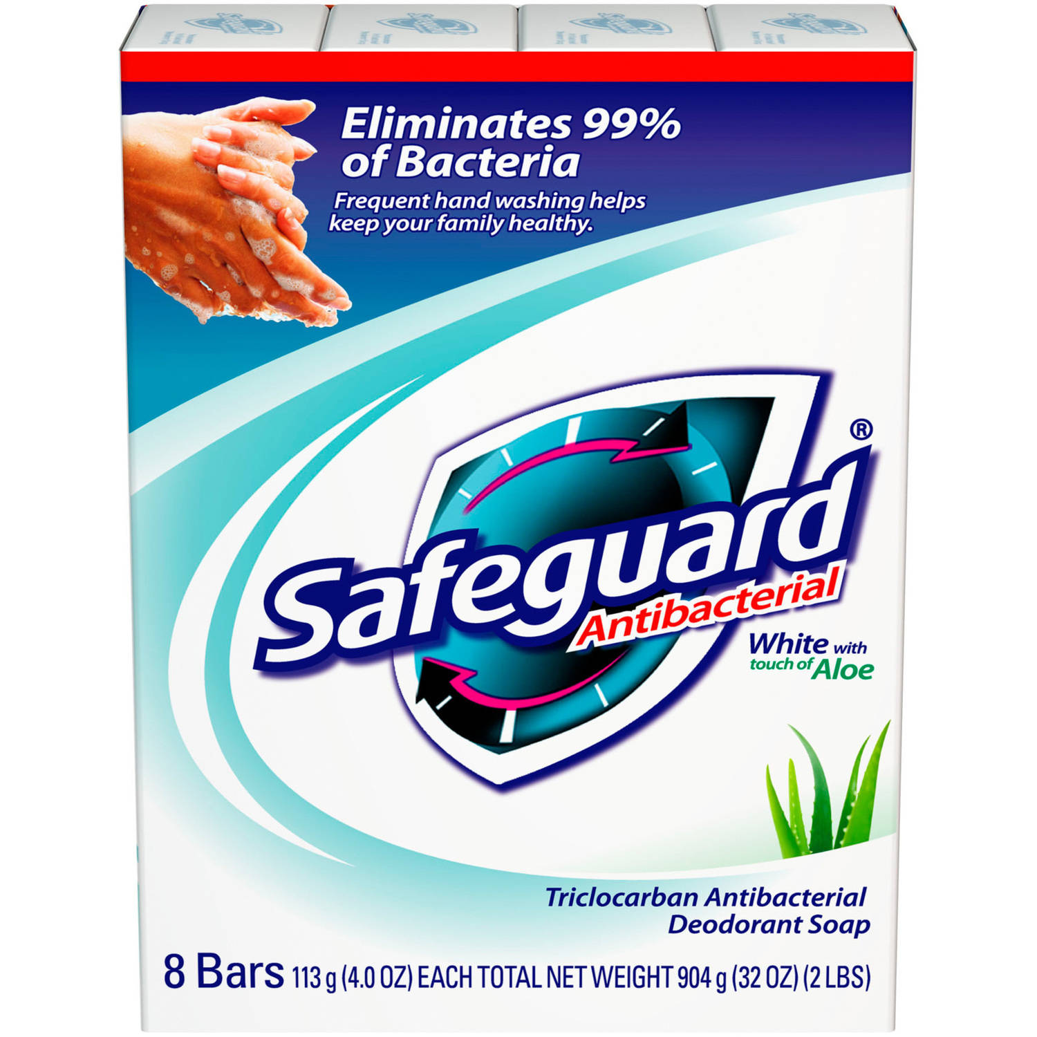 Safeguard Antibacterial White with Aloe Triclosan Antibacterial Deodorant Soap, 4 oz, 8 count