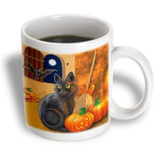 3dRose The Witchs Cat sits near a cozy fireplace entertaining her batty friend on Halloween night, Ceramic Mug, 11-ounce - Halloween Entertaining Serveware
