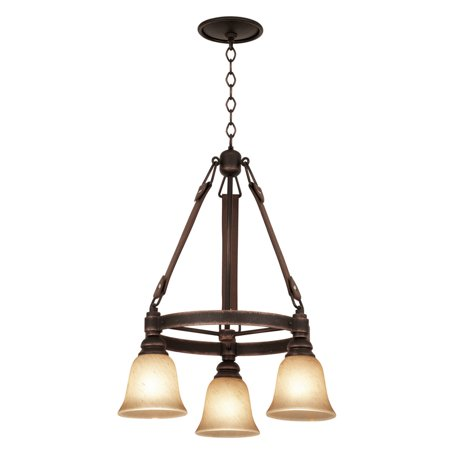 Chandeliers 3 Light With Modern Gold Finish Buddha Leaf Glass Hand Forged Iron and Lear and Glass E26 75 inch 120 Watts