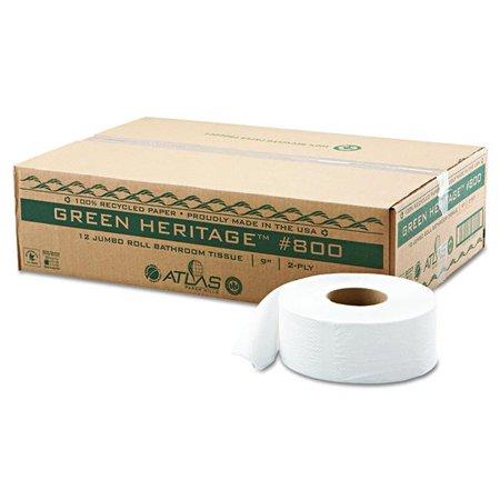 Atlas Paper Mills 800 Pe 9 In 2ply Green Heritage Economy Junior Roll Bathroom Tissue Pack Of
