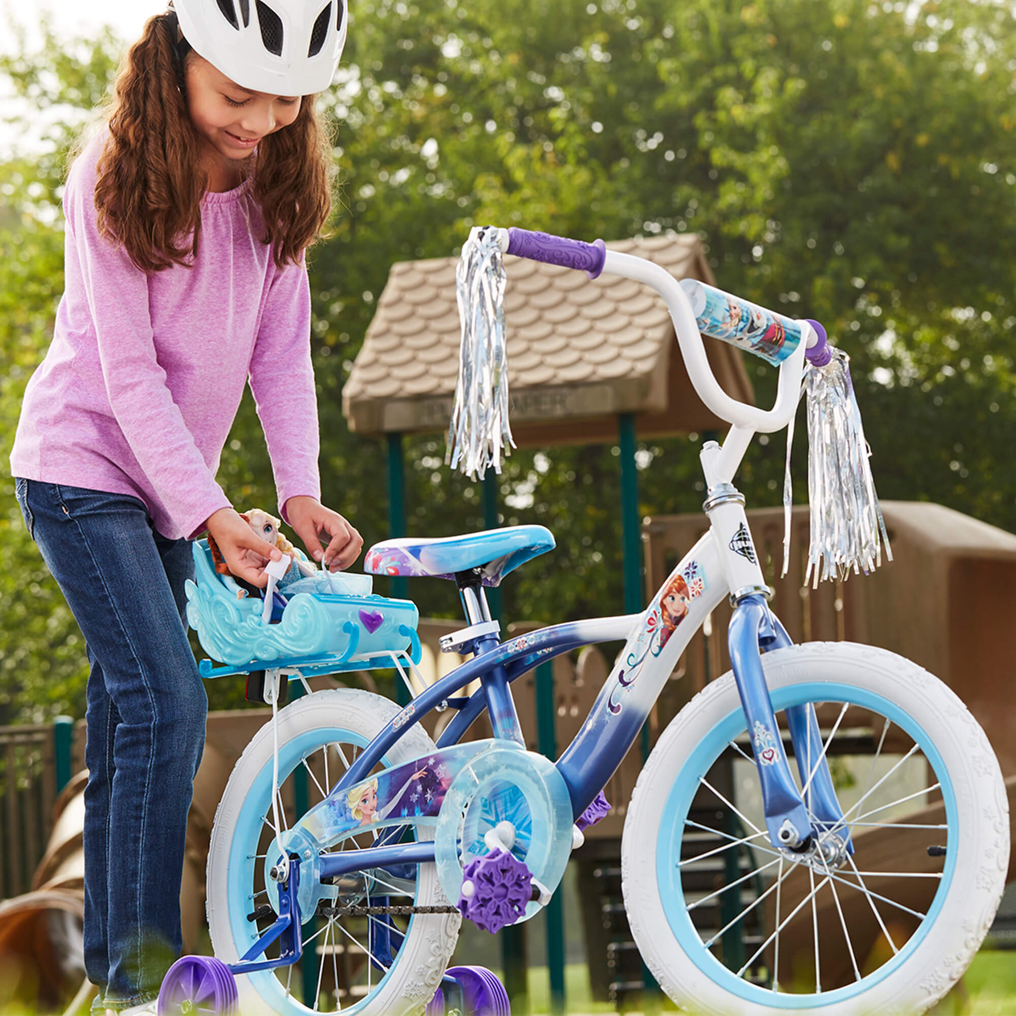 "Disney Frozen 16"" Girls' Blue Bike with Sleigh, by Huffy by Huffy"