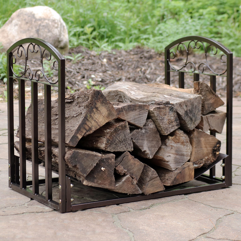 Sunnydaze Designer Indoor/Outdoor 2-Foot Decorative Log Rack, Black