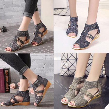 Women Gladiator Sandals Zipper Hollow High Heels Shoes Summer Wear](Kids High Heel Shoes)