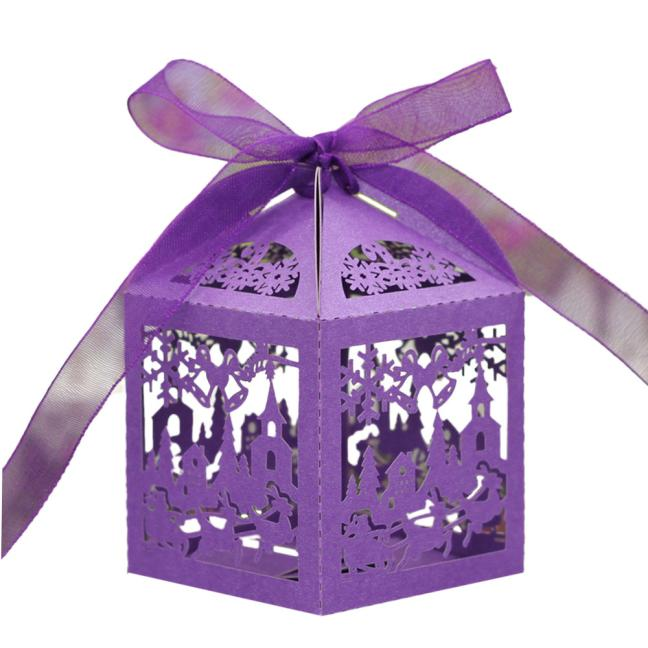 50pc Laser Cut Hollow Out Candy Box GN