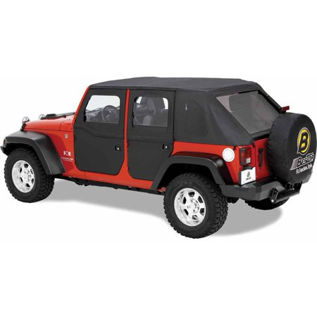 Bestop Door Sill - Bestop 51798-35 Jeep Wrangler Front 2-Piece Full Fabric-Door Set, Black Diamond