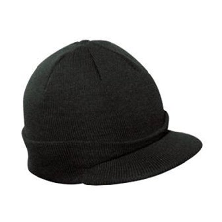 Knit Radar - Plain Short Billed Knit Radar with Cuff Beanie Black
