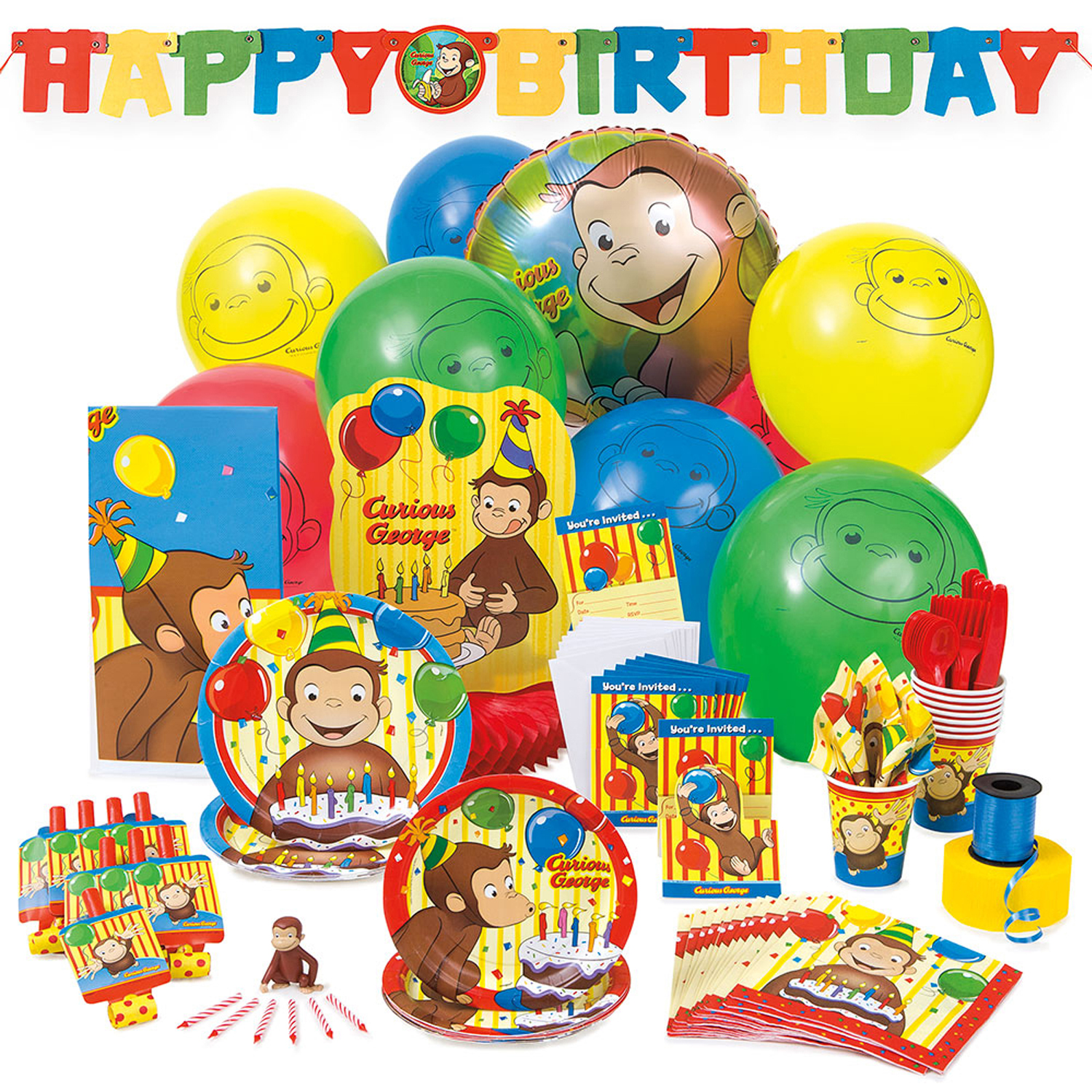 Remarkable Curious George Cake Topper Birthday Candles 7Pc Walmart Com Funny Birthday Cards Online Sheoxdamsfinfo