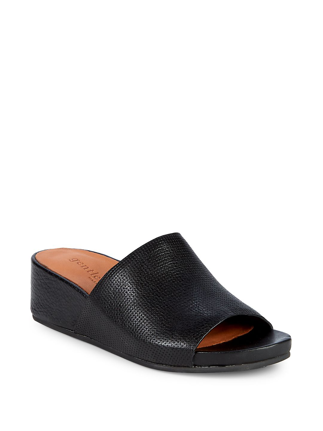 Gisele Textured Leather Wedge Slides