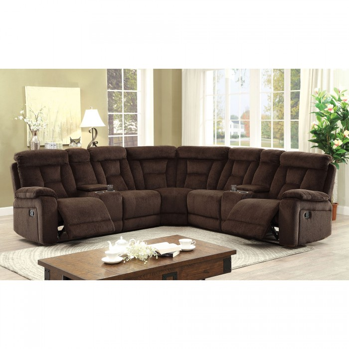 Recliner Sectional Sofa Brown Chenille Fabric Sectional Sectionals w 2 Console Couch Plush Comfort Living Room Furniutre by