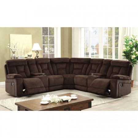 Recliner sectional sofa brown chenille fabric sectional for Cody fabric 5 piece l shaped sectional sofa