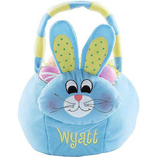 Personalized Plush Easter Basket - Blue Bunny