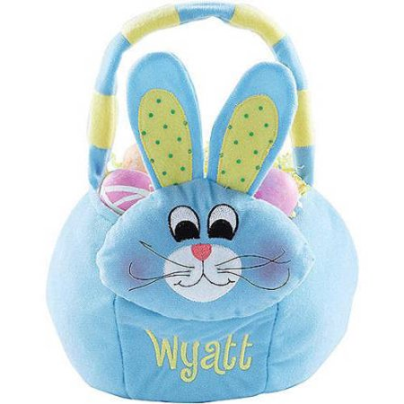 Personalized Plush Easter Basket   Blue Bunny
