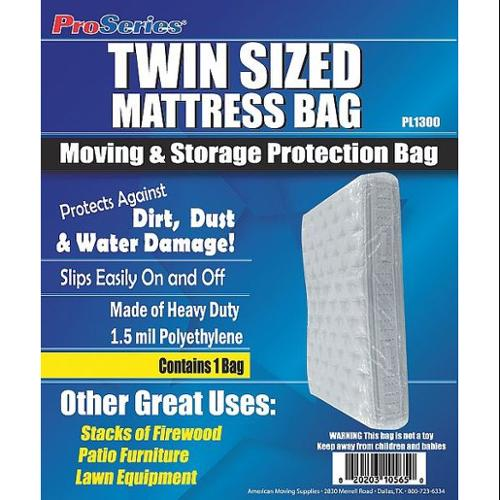 4NZF7 Mattress Bag, Twin, Recyclable, 1.5 Mil
