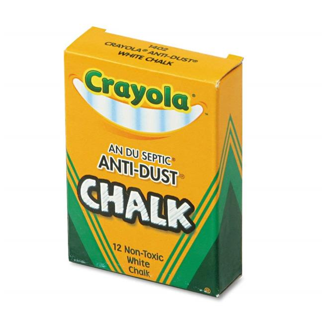 Crayola 501402 Nontoxic Anti-Dust Chalk, White - 12 Sticks per Box