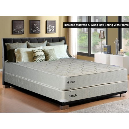 """WAYTON, 9-Inch Gentle Firm Tight top Innerspring Mattress And Wood Traditional Box Spring/Foundation Set With Frame, Twin Size 74"""" x 38"""""""