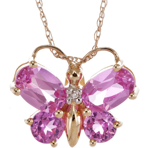 1.82 Carat T.G.W. Lab Pink Sapphire and Diamond Accent 10kt Yellow Gold Butterfly Pendant, 20""