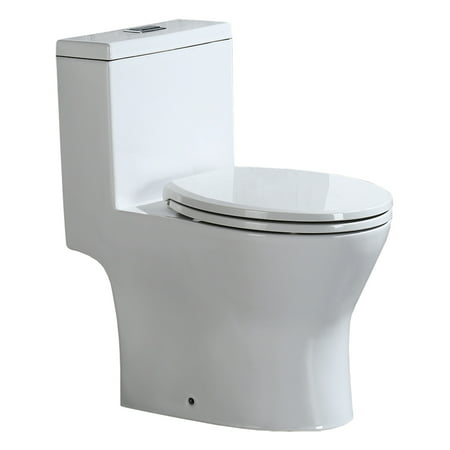 Woodbridge T-0031 Short Compact Tiny One Piece Toilet with Soft Closing Seat, Small Toilet