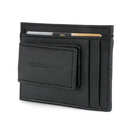 Leather Money Clip Wallet Card Case ID Window Strong Rare Earth Magnet 5 Pockets Black One Size