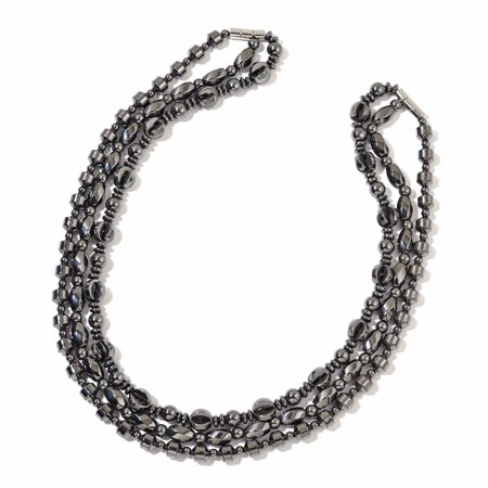 Magnetic Set Necklace (Set of 3 Multilayered Strand Statement Chain Necklace Jewelry Gift for Women Hematite Silvertone 20
