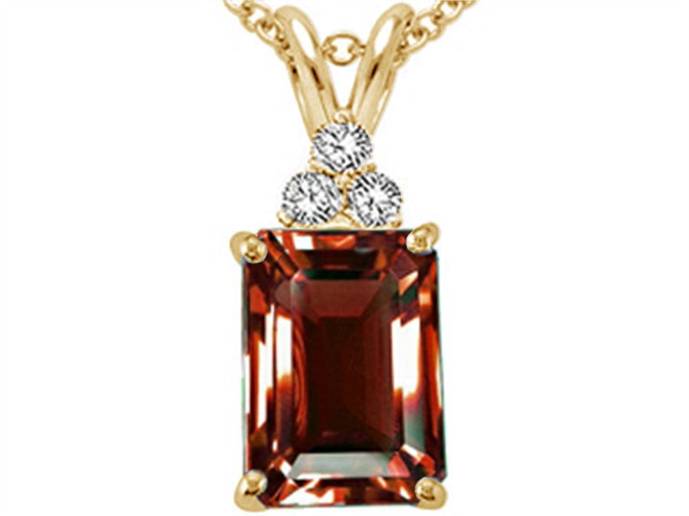 Tommaso Design Emerald Cut 8x6mm Genuine Garnet Pendant Necklace by