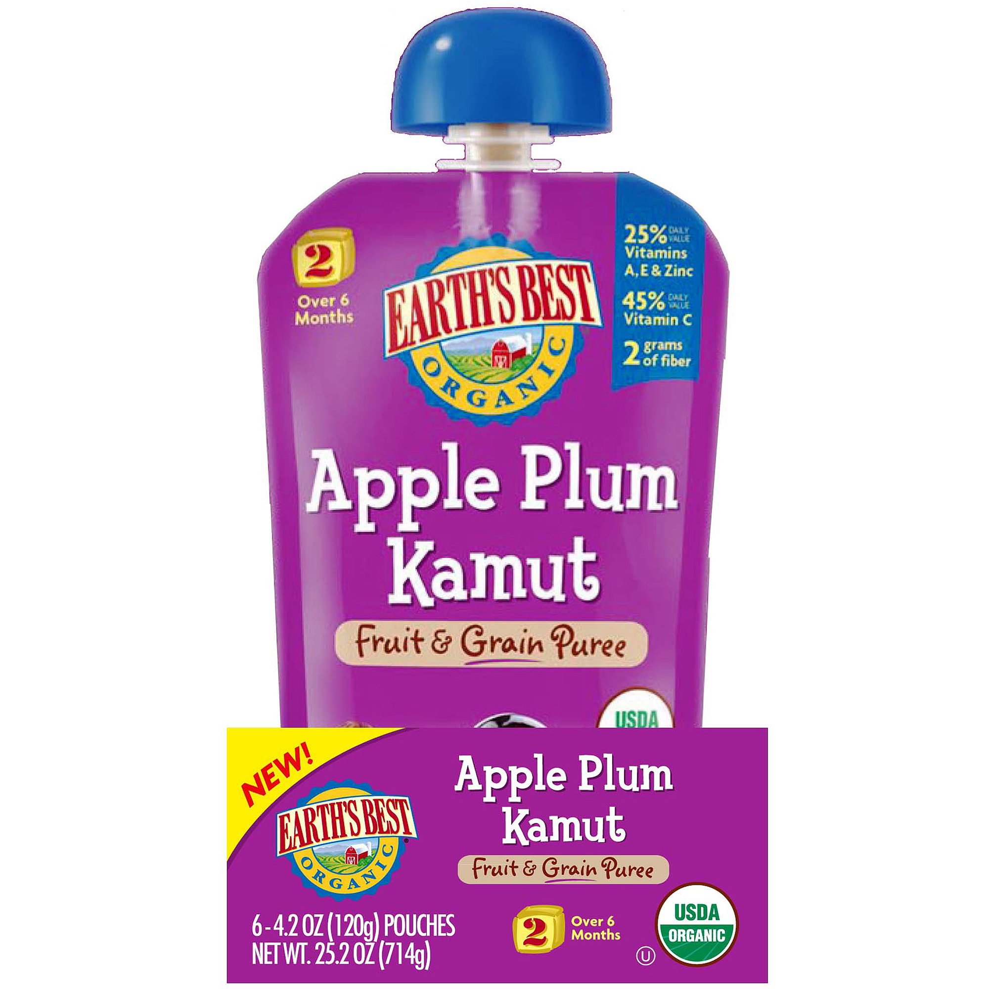 Earth's Best Organic Apple Plum Kamut Fruit & Grain Puree, 4.2 oz, (Pack of 6)