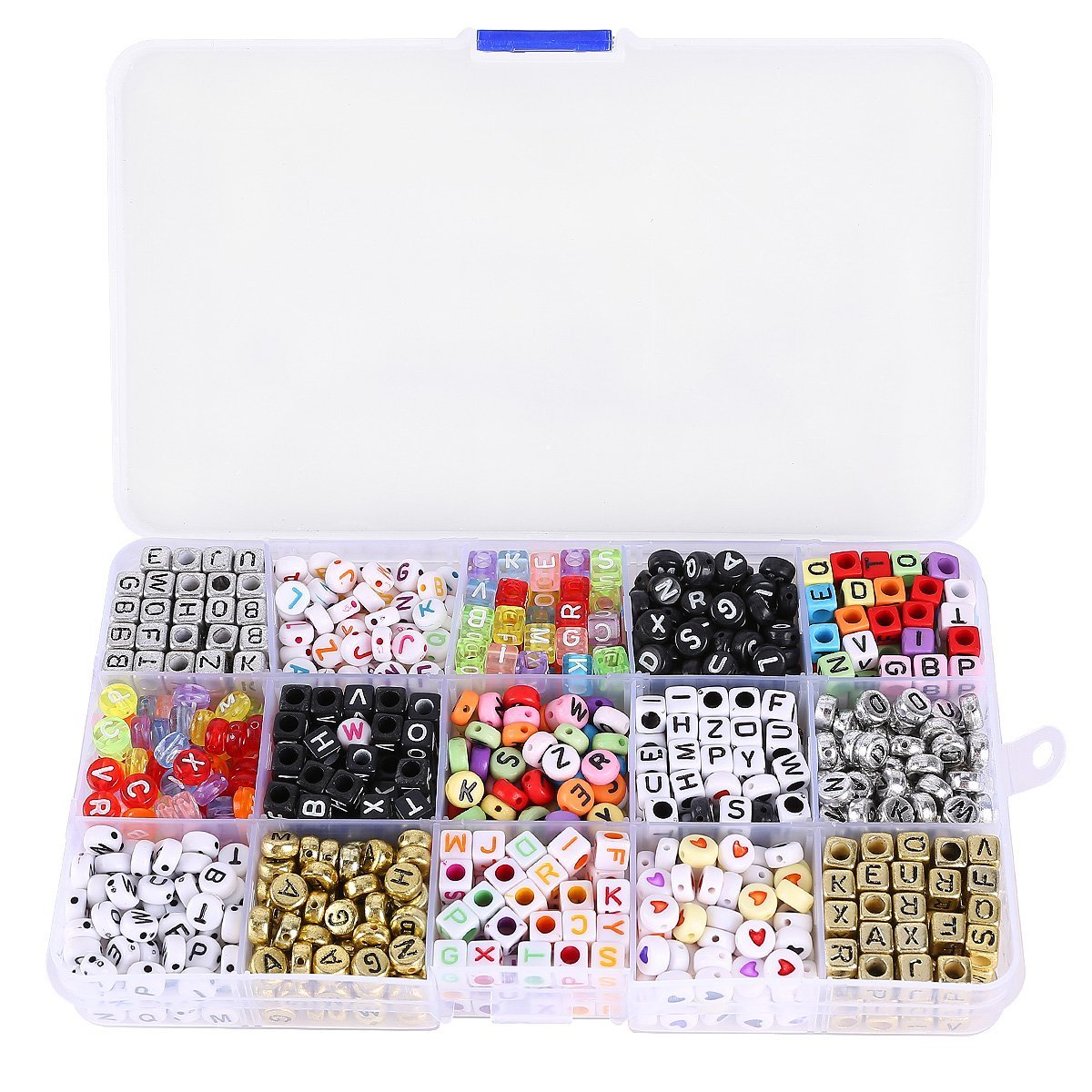 A Box of 1100pcs Mixed Acrylic Alphabet Letters Beads Cube Charms for DIY Loom Bands Bracelets
