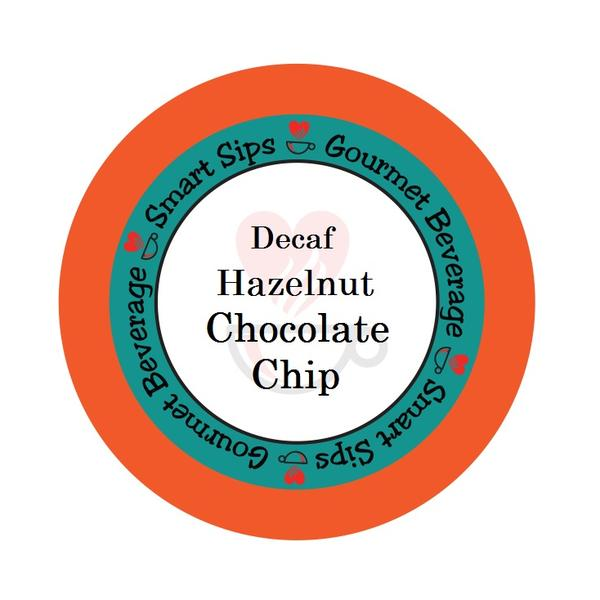Decaf Hazelnut Chocolate Chip Flavored Coffee, 24 Single Serve Cups Compatible With All Keurig K-cup Brewers